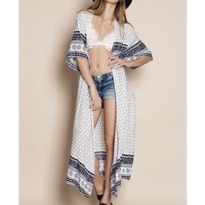 "CCO SALE ""Enchant"" Printed Kimono Long Duster"