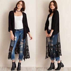 1 HR SALE ❤️ Crochet Lace Bottom Kimono Duster