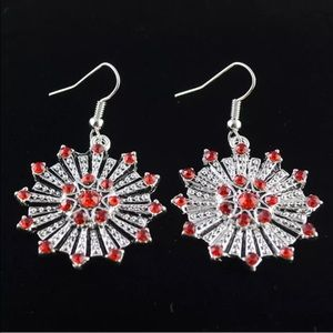 Cute Silver Red CZ Floral Earrings