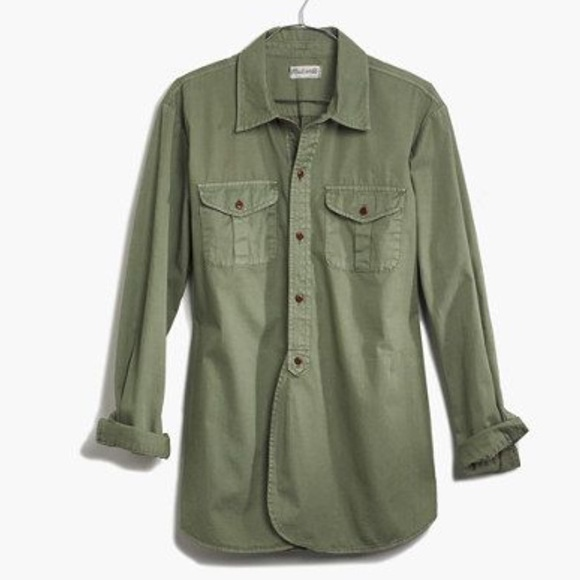 Madewell Tops Olivearmy Green Button Up Shirt Poshmark
