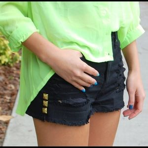 NEW forever21 ripped studded black denim shorts