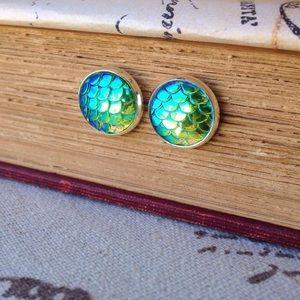 Mermaid  scale stud earrings
