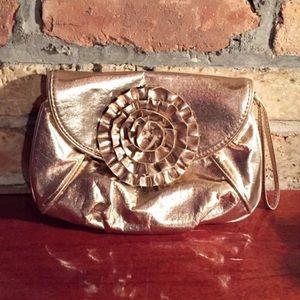 Loeffler Randall Handbags - Loeffler Randall Metallic Gold Clutch with Flower