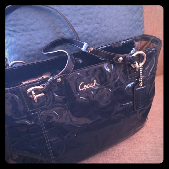 Coach Handbags - SOLD Patent leather peacock blue Coach bag!