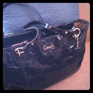 Coach Bags - SOLD Patent leather peacock blue Coach bag!