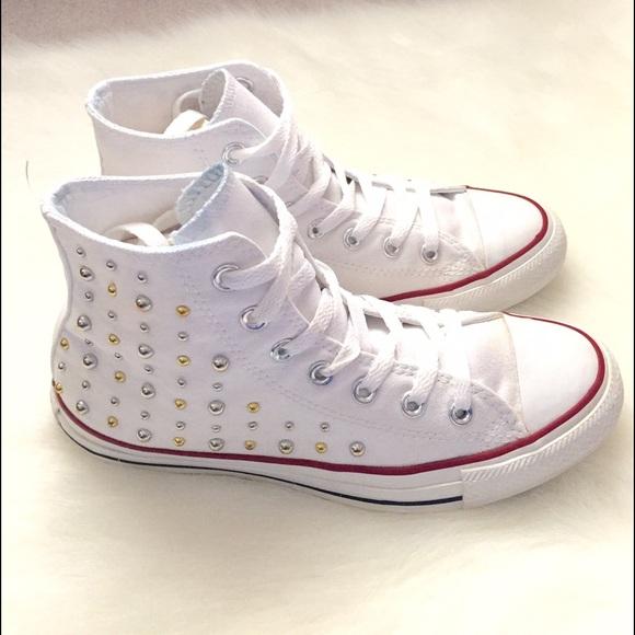 61e01c1ae4a6 Converse Shoes - ✨Studded White High Top All-Star Converse✨