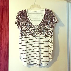 NWT Halogen sequin top