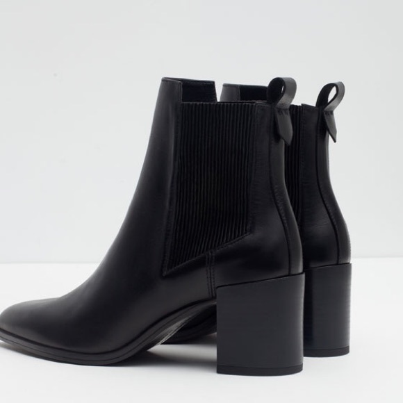 99a2cfcfbcb ZARA BLOCK LEATHER ANKLE BOOT WITH STRETCH DETAIL