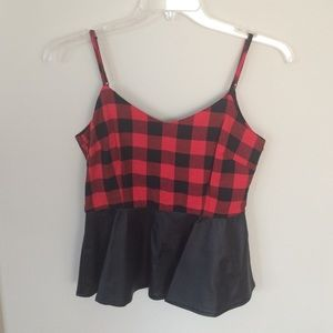 Tops - Plaid and Faux Leather Peplum Tank