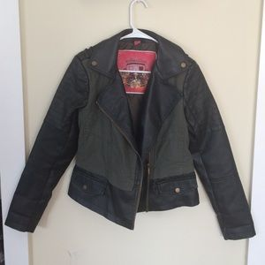 Jackets & Blazers - Black and Hunter Green Leather Jacket