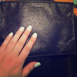 Black glitter coach clutch make up bag