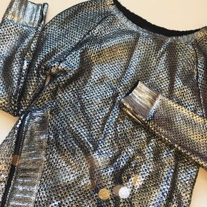 Romeo & Juliet Couture Sweaters - Romeo & Juliet Couture Metallic Zipper Sweater