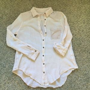 Free people free people spin me gauze button down tunic for Gauze button down shirt