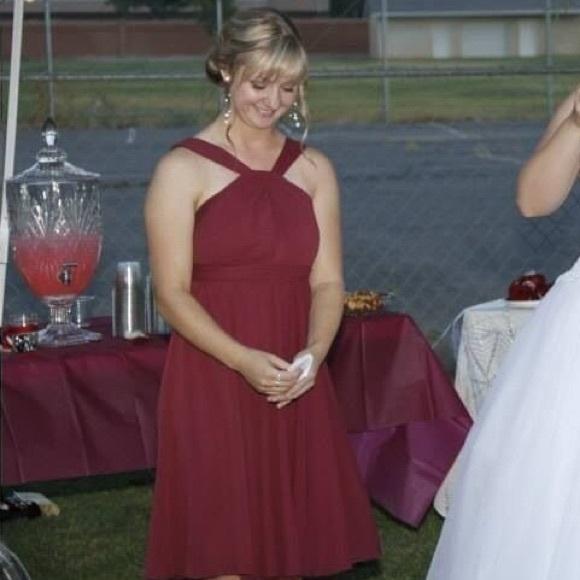David's Bridal Chiffon Halter