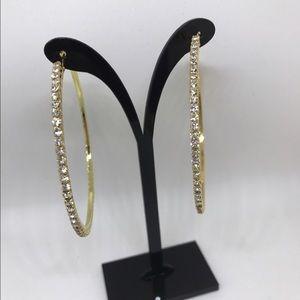 Farah Jewelry Jewelry - Crystal Rhinestone Hoop Earrings