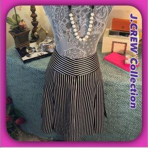 J.Crew Collection Luxury Black Striped Silk Skirt