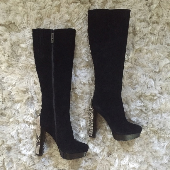 514bc08ab245 Calvin Klein Shoes | Lacie Tall Suede Snakeskin Boots | Poshmark