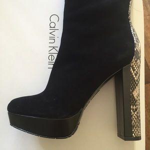 "Calvin Klein ""Lacie"" Tall Suede Snakeskin Boots"