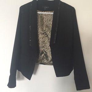 Black blazer with studs & sequins & leopard lining