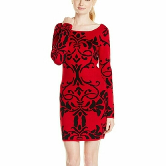 Derek Heart Dresses Nwt Plus Size Sweater Dress Red Baroque Print