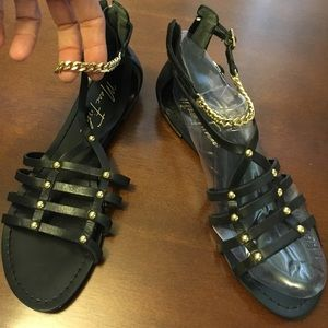 Marc Fisher Shoes - Marc fisher gold chain stud gladiators sandals 5.5
