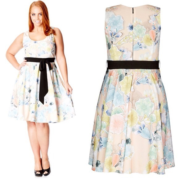 1a82e098a0 City Chic Floral Dress With Sash Plus Size