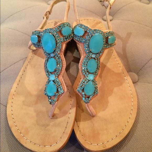 4ed11a875fa17e Ivanka Trump Shoes - Ivanka Trump turquoise jeweled sandals
