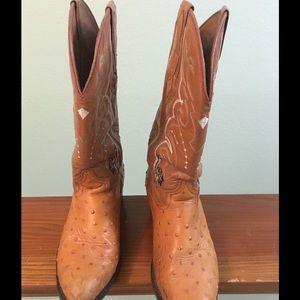 Cognac full-quill ostrich cowboy boots, size 9-9.5