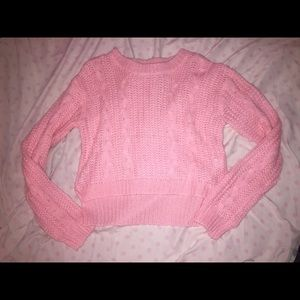 NWOT Nasty Gal cropped pink cable knit sweater