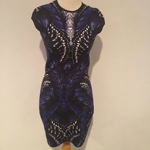 Alexander McQueen Black Blue Knitwear Dress XS NWT