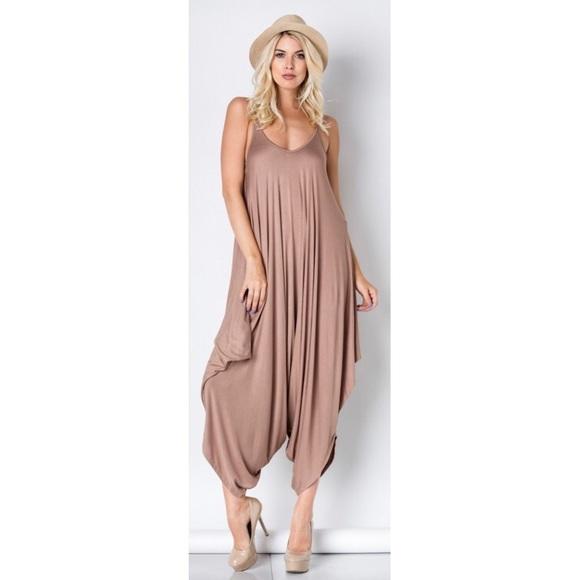 b8e8e4b468e Mocha Taupe Harem Loose Drape Jumpsuit Size Large