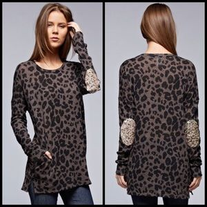 Sweaters - Leopard print sweater with sequin elbow patches