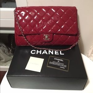 HPAuth CHANEL Patent RED Clutch Shoulder Bag