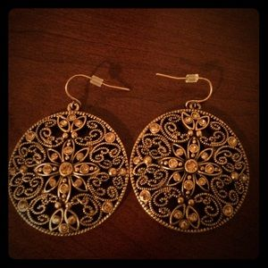 Antique gold-tone Medallion Earrings