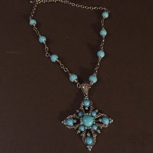 Silver tone and baby blue statement necklace
