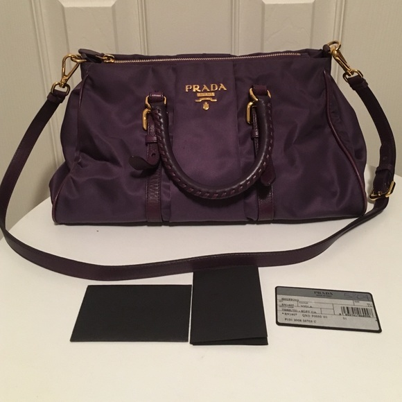 bf135f398ad5 💯Authentic PRADA Nylon Leather Purple 3 ways Bag.  M 56d503cf2ba50a5fd2003070