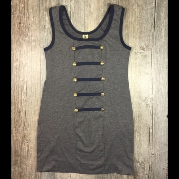 Aubrey Dresses & Skirts - Gray and navy military style dress