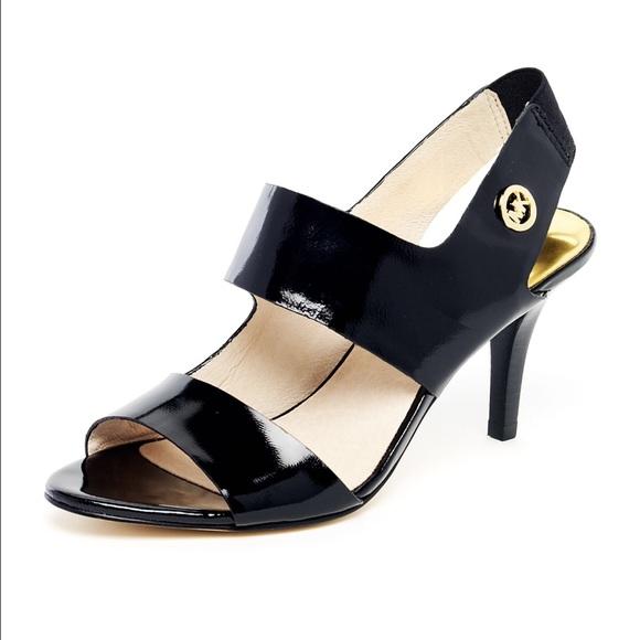 a6b8875ca505 Michael Kors Heels Strappy Black Leather Sandle. M 56d50eb1b4188ec8050057db