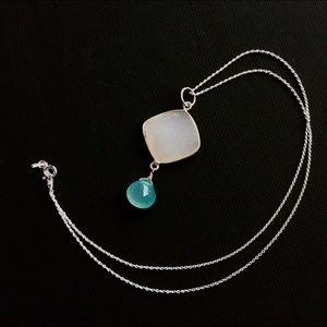 Druzy, Chalcedony & Sterling Silver Necklace