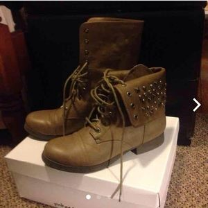 Pink and pepper combat boots size 8