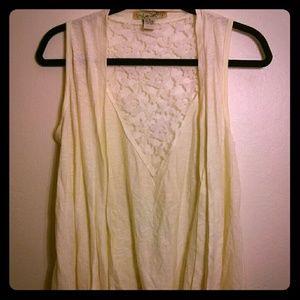 White/Cream Sleeveless Lace-Back Cardigan