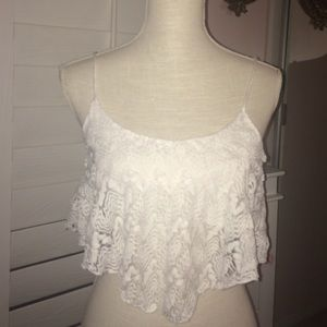 Charlotte Russe crochet white ruffled top