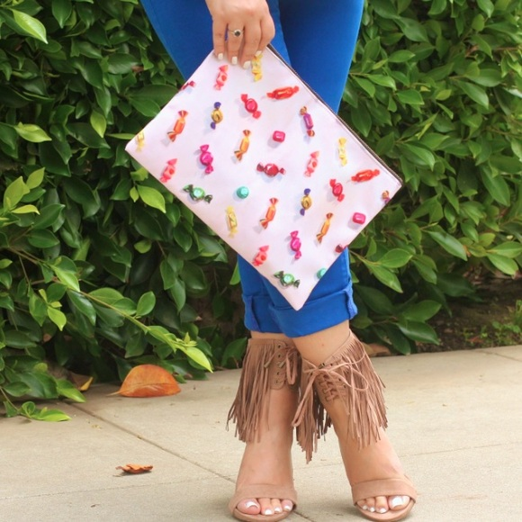 Handbags - Candy Print Canvas Clutch!