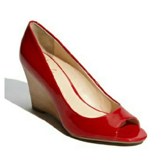 New Franco Sarto Harlow Red Peep Toe