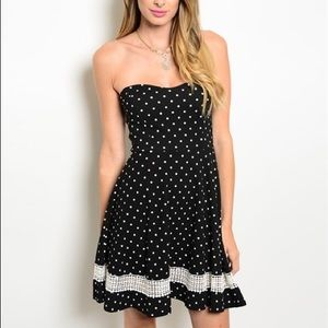 Cassandra Strapless Polka Dot Dress