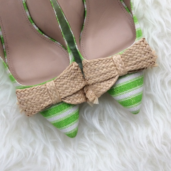 6eda6a03104 ✨HP✨ J. Crew Green Striped Raffia Bow Kitten Heels