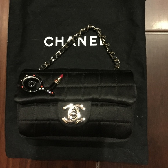 5e7f67a6fece CHANEL Bags | Sold Black Quilted Satin Mini Flap Bag | Poshmark