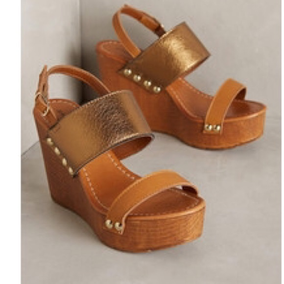 a22c128338c86 Anthropologie Shoes - Sandro Rosi Bronzed Wedges Anthropologie