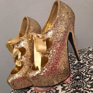 Shoes - 👑Gold Heels PLEASERUSA👑