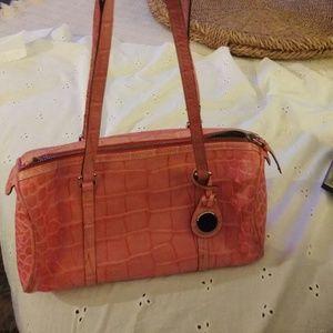 Used bag pink croc embossed